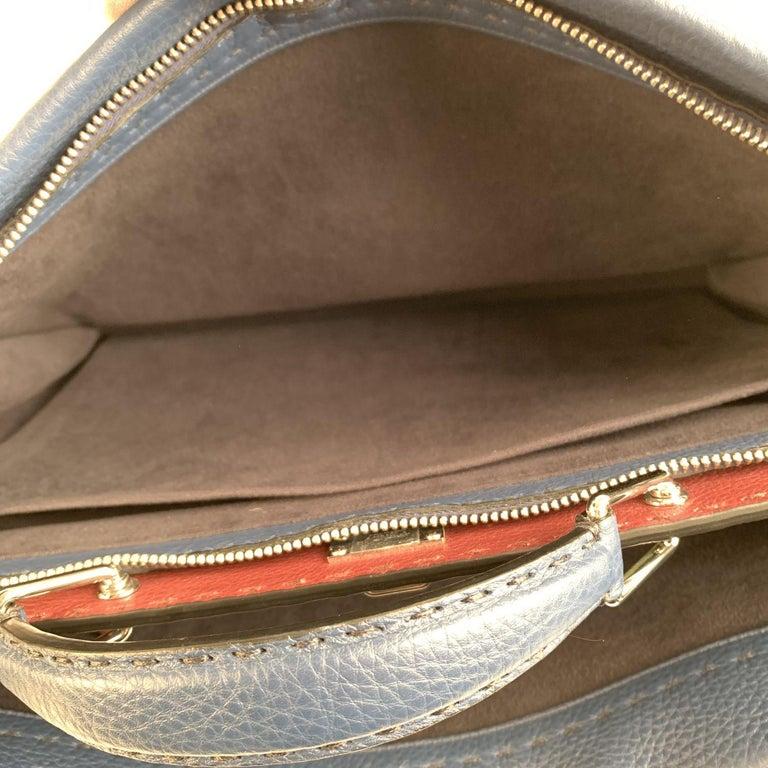 Fendi Selleria Blue Leather Peekaboo Iconic Medium Tote Satchel Bag 3