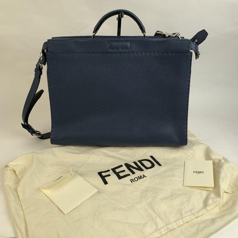 Fendi Selleria Blue Leather Peekaboo Iconic Medium Tote Satchel Bag 4