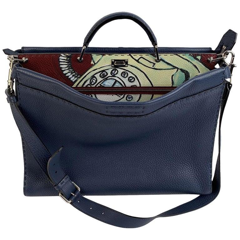 Fendi Selleria Blue Leather Peekaboo Iconic Medium Tote Satchel Bag
