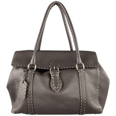 FENDI Selleria Brown leather Contrast Stitch Borsa Linda Grande Handbag