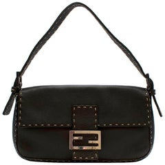 Fendi Selleria Vintage Brown Leather Baguette Shoulder Bag