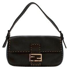 Fendi Selleria Vintage Brown Leather Baguette Shoulder Bag