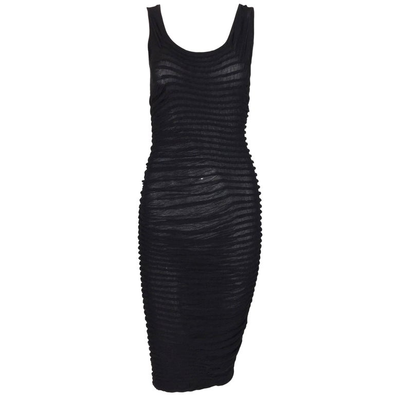 Fendi Sheer Black Pin Up Ruched Wiggle Pencil Bodycon Dress At 1stdibs