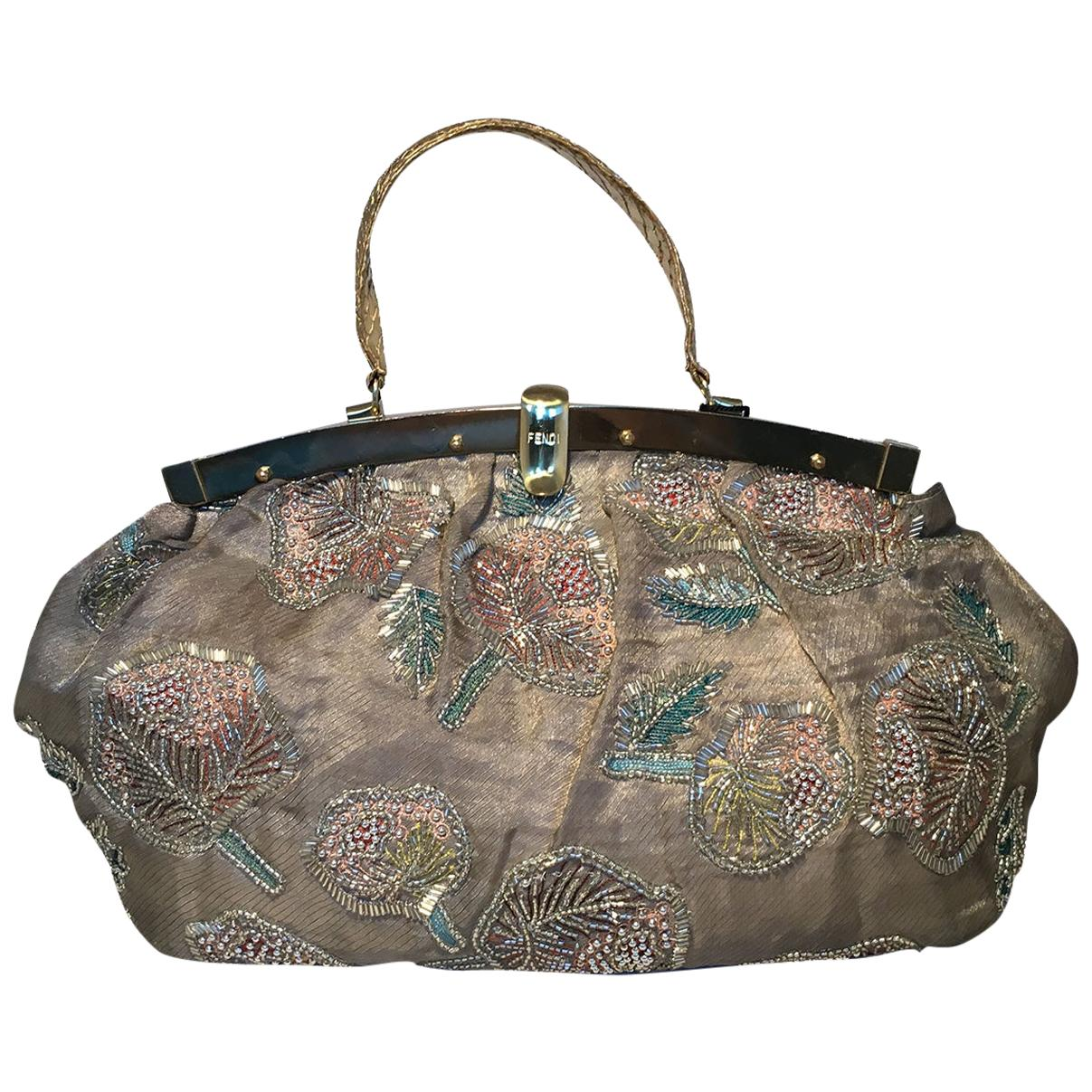 Fendi Sheer Silk Organza Hand Beaded Floral Embroidered Tote