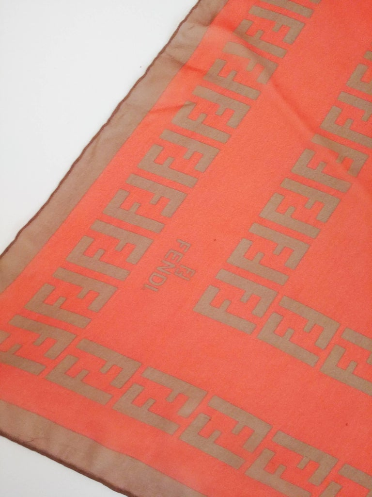 Red Fendi Silk Chiffon Printed Logo Scarf For Sale