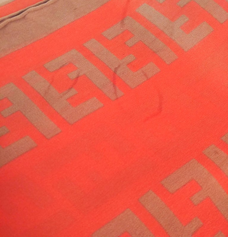 Fendi Silk Chiffon Printed Logo Scarf In Fair Condition For Sale In San Francisco, CA