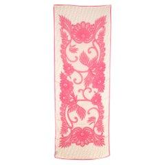 Fendi Silk Pink & Beige Floral Lace Print Monogram Scarf