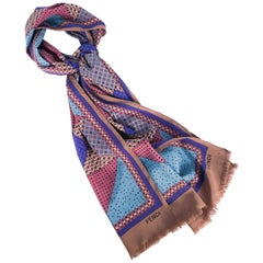 Fendi Silk Scarf With Geometric Pattern