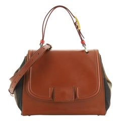 Fendi Silvana Bag Leather with Pequin Striped Canvas Small