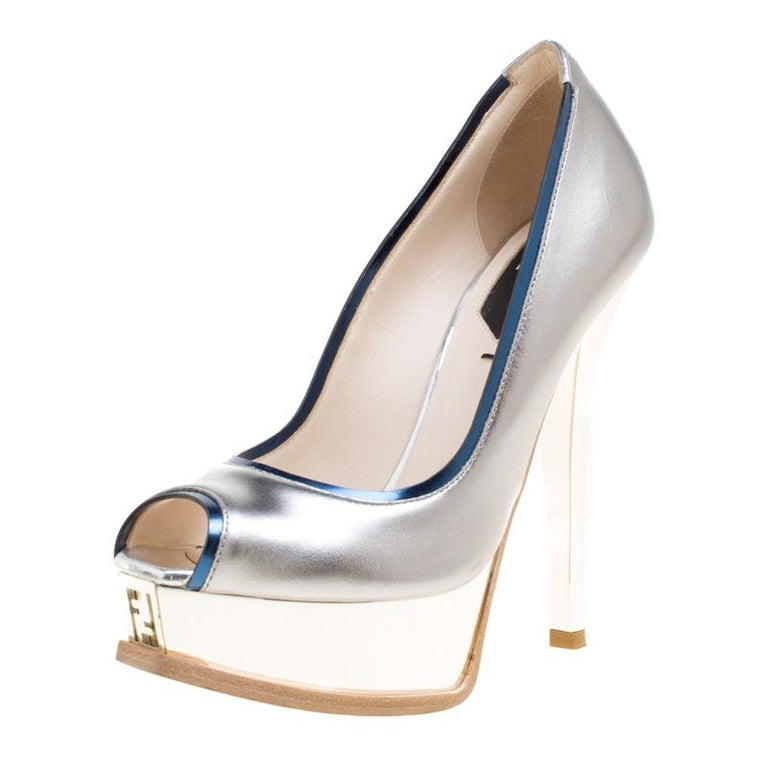 d198deceb5e Fendi Silver Blue Leather Fendista Peep Toe Platform Pumps Size 35 For Sale