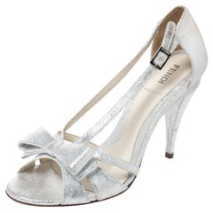 Fendi Silver Foil Leather Bow Detail Ankle Strap Sandals Size 37.5
