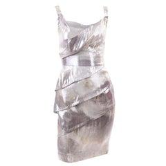 Fendi Silver & Gold Metallic Silk Blend Dress Italian Size 44