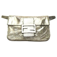 Fendi Silver Leather Baguette Bag