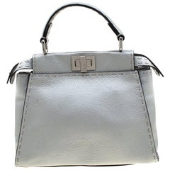 Fendi Silver Leather Selleria Mini Peekaboo Top Handle Bag