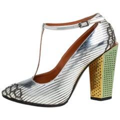 Fendi Silver Leather T-Strap Block Heel Pumps Size 36.5