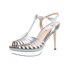 Fendi Silver Metallic Leather T Bar Platform Sandals Size 38