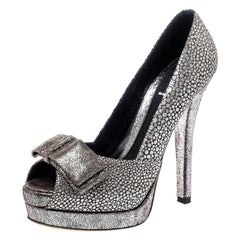 Fendi Silver Textured Fabric Bow Peep Toe Pumps Size 37