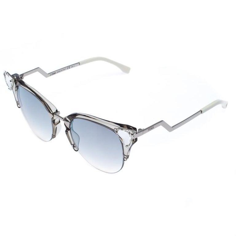 Women's Fendi Silver Tone/ Grey Gradient FF 0041/S Iridia Cat Eye Sunglasses For Sale