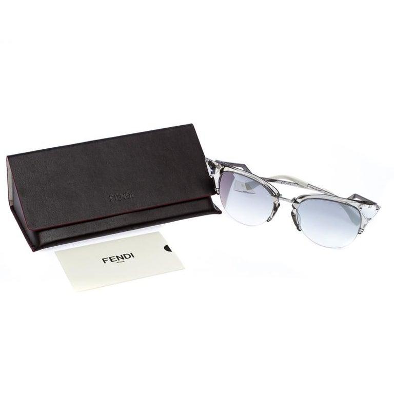 Fendi Silver Tone/ Grey Gradient FF 0041/S Iridia Cat Eye Sunglasses For Sale 3
