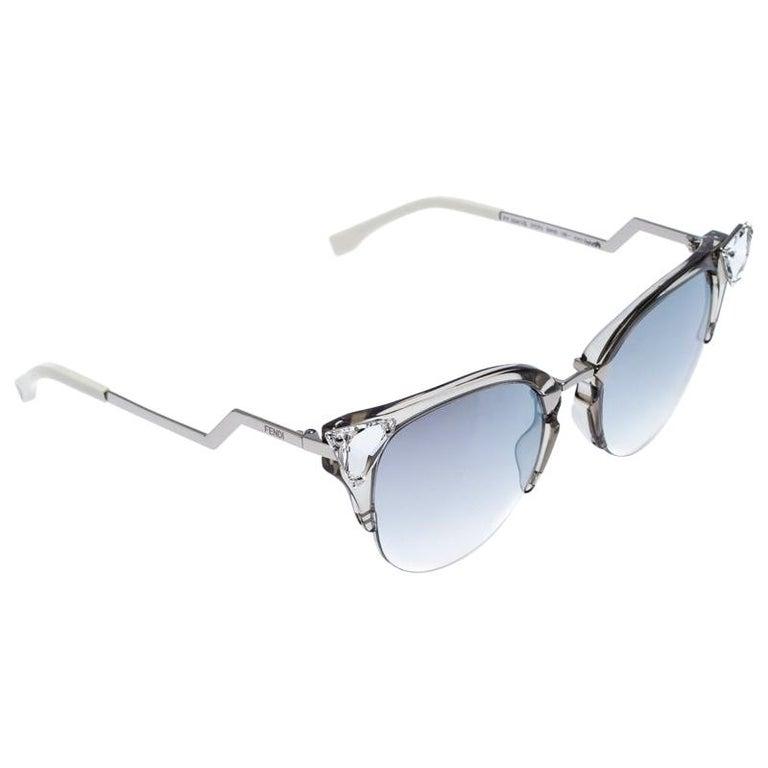 Fendi Silver Tone/ Grey Gradient FF 0041/S Iridia Cat Eye Sunglasses For Sale