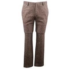 FENDI Size 32 Brown Herringbone Wool Blend Casual Pants