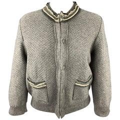 FENDI Size 6 Gray Wool Knitted Ruffle Trim Cardigan