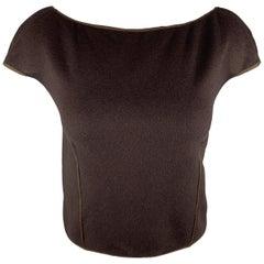 FENDI Size 8 Brown Silk / Cashmere Cropped Boat Neck Pullover