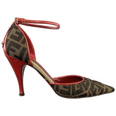 FENDI Size 8 Brown Zucca Fabric & Red Leather Ankle Strap Pumps