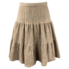 FENDI Size M Taupe Heathered Wool Blend Tiered Ruffle Skirt