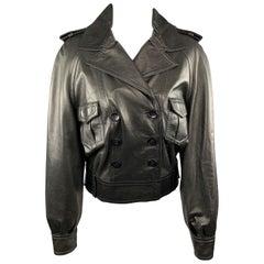 FENDI Size S Black Leather Double Breasted Military Jacket