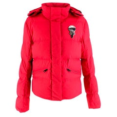 Fendi Ski Karl Loves' Embroidered Red Puffer Jacket - Size US 10