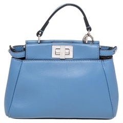 Fendi Sky Blue Nappa Leather Micro Peekaboo Crossbody Bag