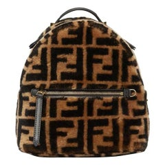 Fendi Small Leather Trimmed Fendi Printed Shearling Backpack
