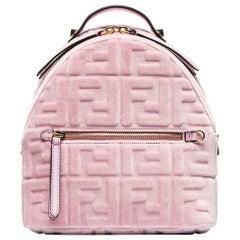 Fendi Small Leather Trimmed Logo Embossed Velvet Backpack