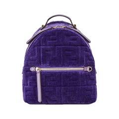 Fendi Small Logo Embossed Velvet Backpack