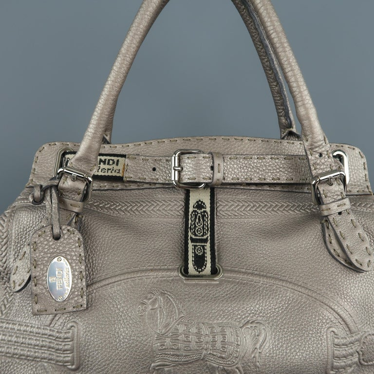 95173c3210f FENDI Smoke Silver Metallic Embossed Leather Villa Selleria Borghese Tote  In Excellent Condition For Sale In