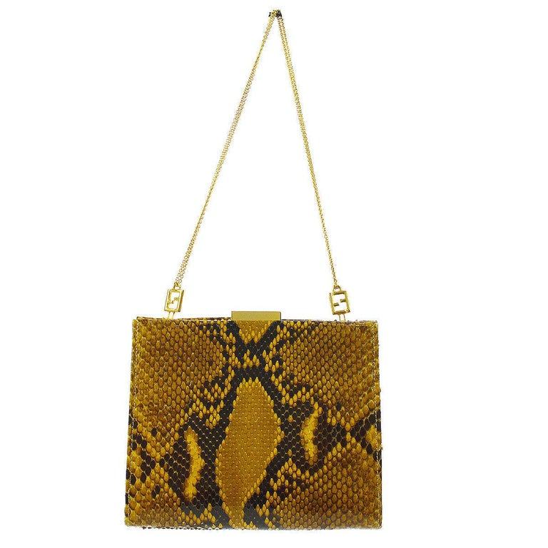 Fendi Snakeskin Cognac Tan Black Gold Small Chain Evening Shoulder Bag in Box In Good Condition For Sale In Chicago, IL