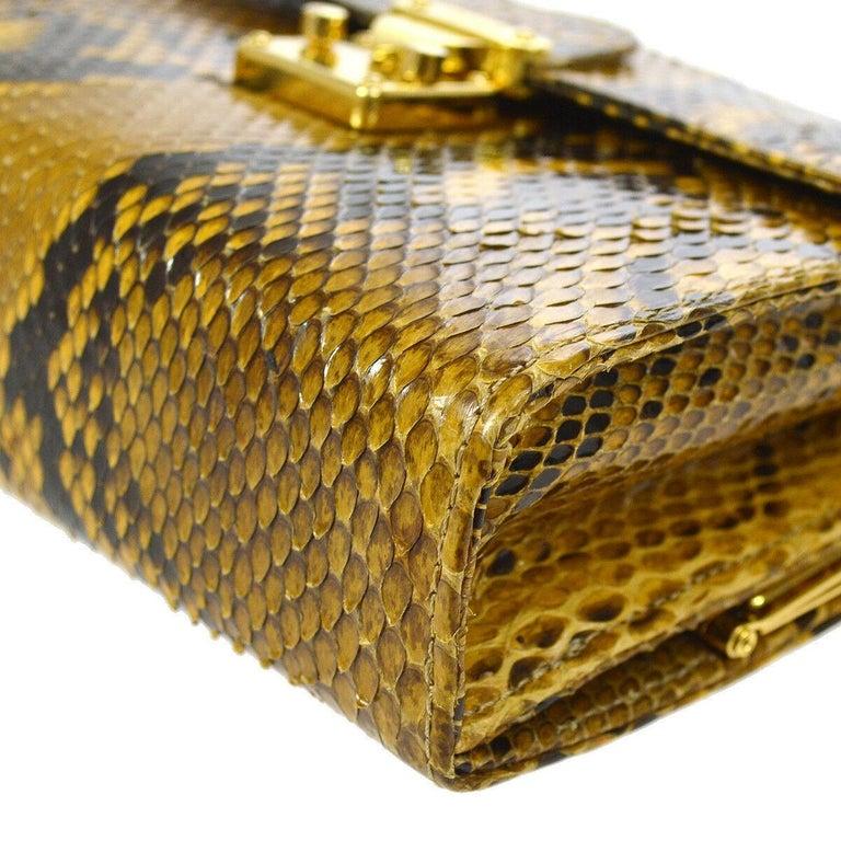 Women's Fendi Snakeskin Cognac Tan Black Gold Small Chain Evening Shoulder Bag in Box For Sale