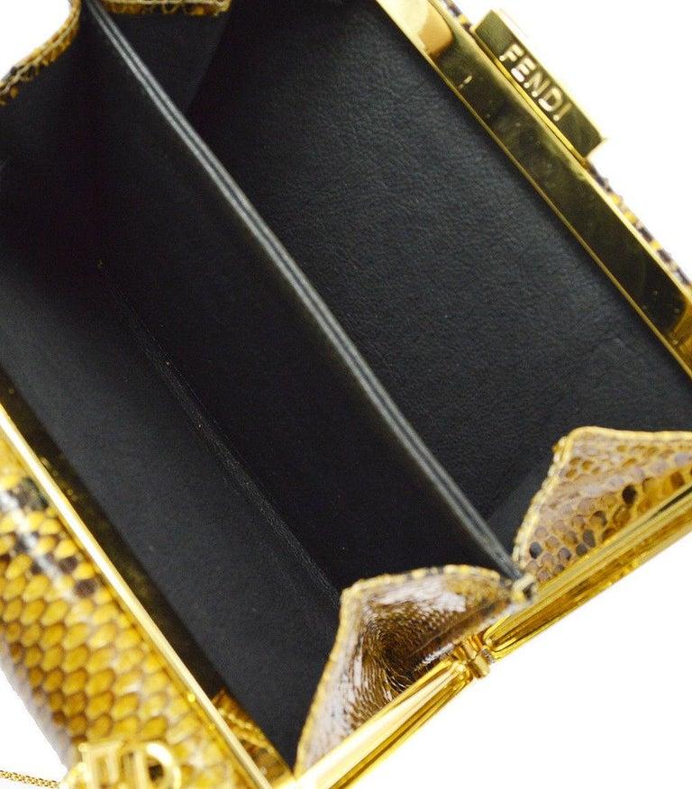 Fendi Snakeskin Cognac Tan Black Gold Small Chain Evening Shoulder Bag in Box For Sale 1