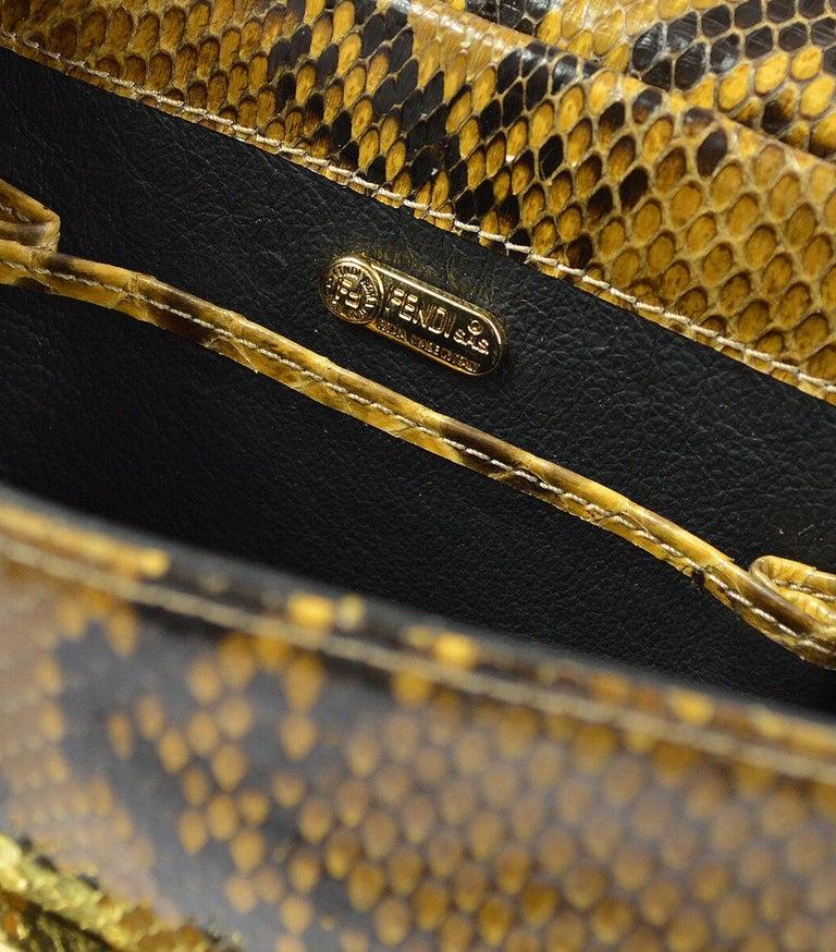 Fendi Snakeskin Cognac Tan Black Gold Small Chain Evening Shoulder Bag in Box For Sale 2