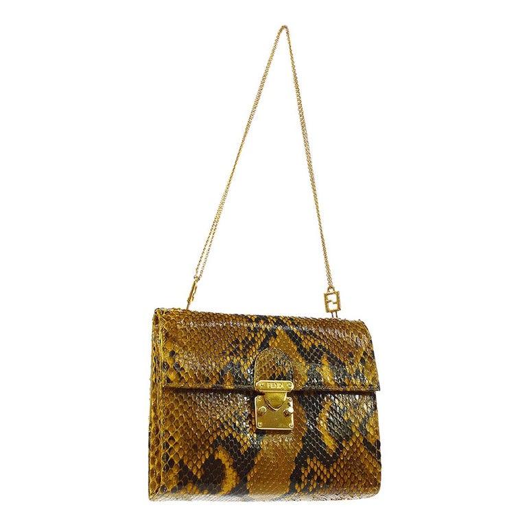Fendi Snakeskin Cognac Tan Black Gold Small Chain Evening Shoulder Bag in Box For Sale