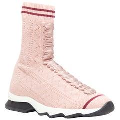 FENDI Sock Sneaker pink silver lurex round toe knitted high top shoes EU36