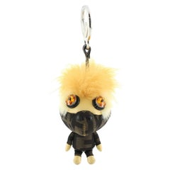 Fendi Space Monkey Bag Charm Zucca Canvas with Leather and Fur