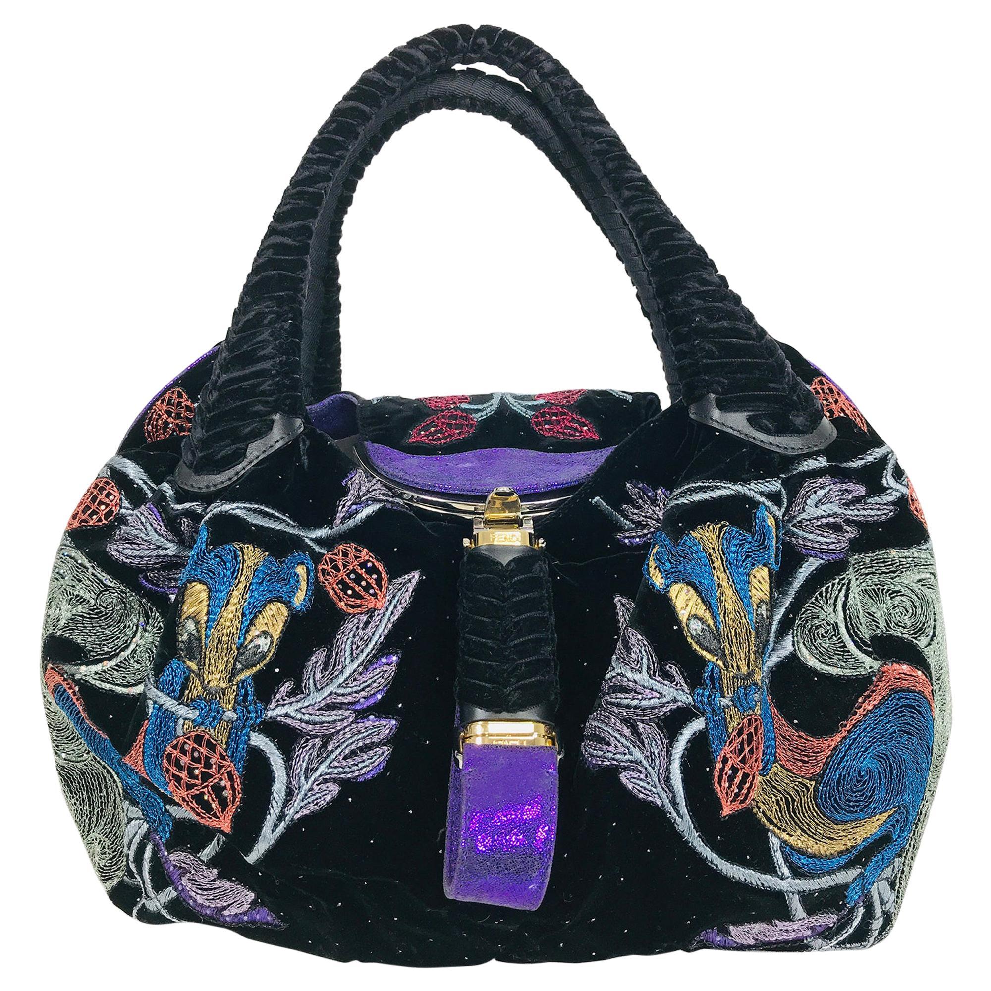 Fendi Squirrel Velvet Purple Sparkle Suede Metallic Embroidered Spy Bag