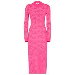 Fendi Stretch Jacquard-Knit Midi Dress
