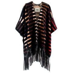 Fendi Striped Leather trim Camel Hair Blend Cape XS 40