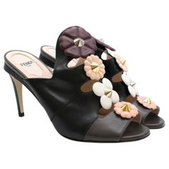 Fendi Studded Floral Applique Leather Mules Size 38