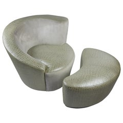 Fendi Swivel Club Chair and Ottoman, Club House Italia by Vladimir Kagan
