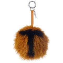 Fendi T-Letter Pompom Fox-Fur Bag Charm