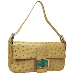 Fendi Tan Exotic Leather Turquoise Baguette Evening Shoulder Flap Bag